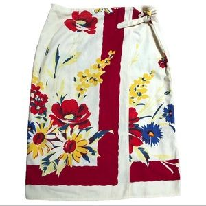 Vintage Retro-Sarong Floral Wrap Skirt